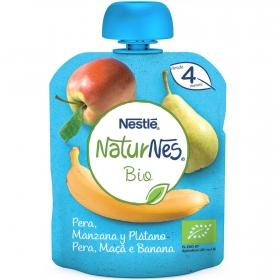 Preparado de pera,manzana y plátano desde 4 meses ecológico Nestlé Naturnes sin gluten bolsita de 90 g.