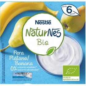 Postre lácteo de pera y plátano desde 6 meses sin azúcar añadido ecológico Nestlé Naturnes pack de 4 unidades de 90 g.