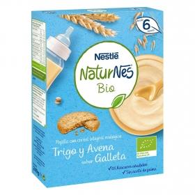 Papilla infantil desde 6 meses de trigo y avena integral sabor galleta ecológica sin azúcar añadido Nestlé Naturnes sin aceite de palma 240 g.