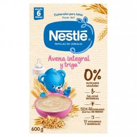 Papilla infantil desde 6 meses de cereales integrales con avena sin azúcar añadido Nestlé sin aceite de palma 600 g.
