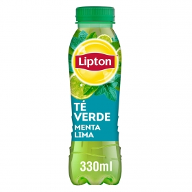 Refresco de té verde Lipton sabor menta-lima botella 33 cl.