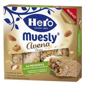 Barritas de avena y almendras con caramelo Muesly Hero 4 unidades de 35 g.