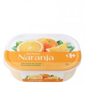 Helado sorbete de naranja Carrefour 1 l.