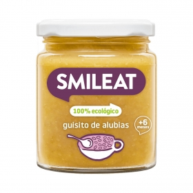 Tarrito de guiso de alubias desde 8 meses ecológico Smileat sin gluten 230 g.