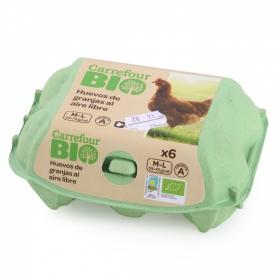 Huevos M-L ecológicos Carrefour Bio 6 ud.