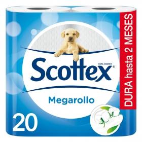Papel higiénico Megarollo Scottex 20 rollos.
