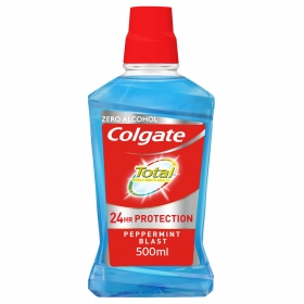 Enjuague bucal total 12H protección contra la placa bacteriana sin alcohol Colgate 500 ml.