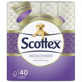 Papel higiénico acolchado toque de seda Scottex 40 rollos.