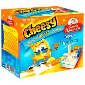 Snack queso cheesy semicurado García Baquero pack de 4 unidades de 30 g.