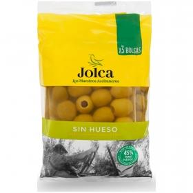 Aceitunas verdes manzanilla sin hueso Jolca pack de 3 bolsas de 50 g.
