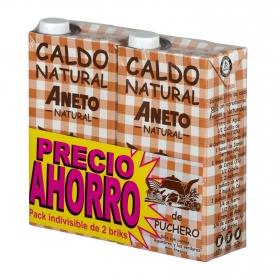 Caldo natural de puchero Aneto sin gluten y sin lactosa pack de 2 briks de 1 l.