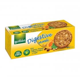 Galletas con avena, pasas, albaricoque y soja Digestive Gullón 365 g.