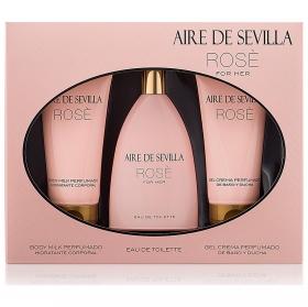 Estuche Aire de Sevilla Rosé: colonia 150 ml, crema corporal 150 ml y body milk 150 ml.