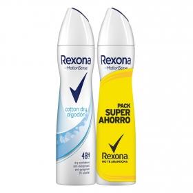 Desodorante en spray algodón Rexona pack de 2 unidades de 200 ml.