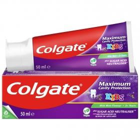Dentífrico máxima protección caries menta para niños Colgate 50 ml.