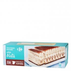 Tarta helada laminada de nata Carrefour 525 g.