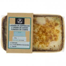 Lasaña de espinacas y queso de cabra Carrefour 380 g
