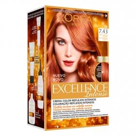 Tinte intense nº 7.43 Rubio Cobrizo Dorado L'Oréal Excellence 1 ud.