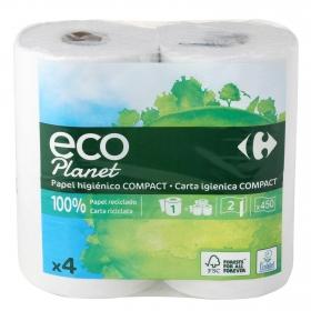 Papel higiénico ecológico Carrefour Eco Planet 4 rollos.