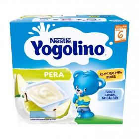 Postre lácteo de pera desde 6 meses Nestlé Yogolino sin gluten pack de 4 unidades de 100 g.
