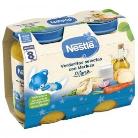 Tarrito de verduritas selectas con merluza desde 8 meses sin sal añadida Nestlé Pijama sin gluten pack de 2 unidades de 200 g.