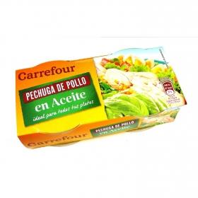 Pechuga de pollo en aceite de girasol y de oliva Carrefour pack de 2 unidades de 42 g.