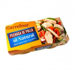 Pechuga de pollo al natural Carrefour pack de 2 unidades de 42 g.