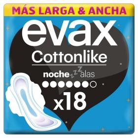 Compresas Cottonlike noche con alas Evax 18 ud.