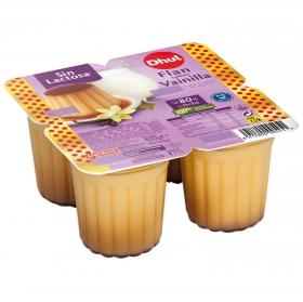 Flan de vainilla Dhul sin lactosa pack de 4 unidades de 100 g.