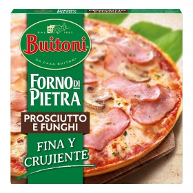 Pizza de jamón y champiñones fina y crujiente Forno Di Pietra Buitoni 350 g.