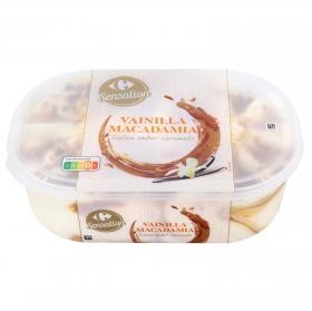 Helado de vainilla y macadamia caramelizada Carrefour 900 ml.