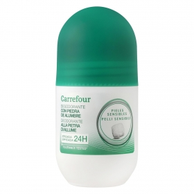 Desodorante roll-on 24h para piel sensible sin alcohol Carrefour 50 ml.