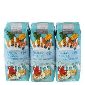 Zumo de fruta y leche Carrefour Mediterráneo pack de 3 briks de 33 cl.