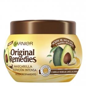 Mascarilla capilar antiencrespamiento con aceite de aguacate y manteca de karité Garnier Original Remedies 300 ml.