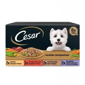 Cesar Multipack de 8 Tarrinas para Perro de Recetas Campesinas Selección en Salsa 150gr