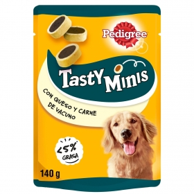 Snack de carne y queso Pedigree Tasty Bites Cheesy 140 g.