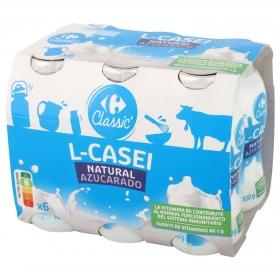 Yogur L.Casei líquido azucarado natural Sanus Carrefour pack de 6 unidades de 100 g.