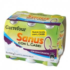 Yogur L.Casei desnatado líquido natural Sanus Carrefour pack de 6 unidades de 100 g.