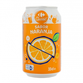 Refresco de naranja Carrefour con gas lata 33 cl.