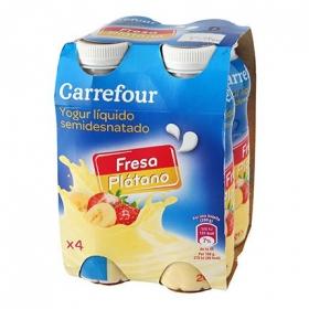 Yogur semidesnatado líquido de fresa y plátano Carrefour pack de 4 unidades de 200 ml.