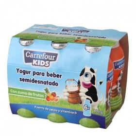 Yogur semidesnatado líquido con zumo de frutas Carrefour Kids pack de 6 unidades de 100 g.