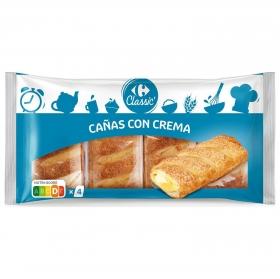 Cañas con crema Carrefour 4 unidades de 62,5 g.