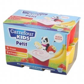 Petit de fresa y fresa-plátano Carrefour Kids pack de 12 unidades de 50 g.