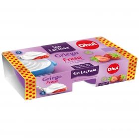 Yogur griego con fresa Dhul sin lactosa pack de 2 unidades de 125 g.