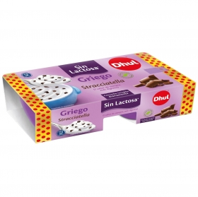 Yogur griego de stracciatella Dhul sin lactosa pack de 2 unidades de 125 g.