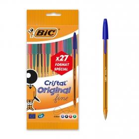 Bolígrafos Punta Fina Bic Cristal Naranja Surtidos 20+7 uds