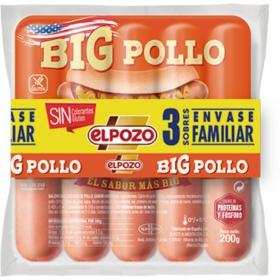 Salchichas BIG pollo El Pozo pack de 3 unidades de 200 g.