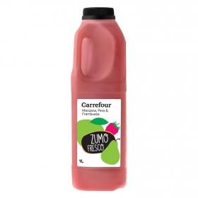 Zumo de manzana, pera y frambuesa Carrefour botella 1 l.
