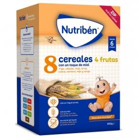 Papilla 8 cereales con miel y 4 frutas desde 6 meses Nutribén 600 gr
