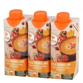 Salmorejo con aceite de oliva virgen extra Carrefour pack de 3 unidades de 330 ml.